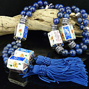 Natural Lapis, Sterling Silver, and Lantern Cloisonne Long Tassel Necklace