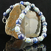Striking Ethnic Handmade Naga Trade Beads, Sterling Silver and Natural Lapis Necklace