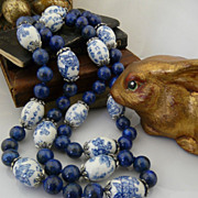 Asian Influence Natural Lapis, Hand Painted Porcelain and Sterling Silver Necklace