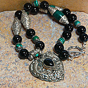 Stunning Artisan Handmade Natural Malachite,  Onyx and Sterling Silver Necklace with Chased ..