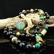 Handmade Exotic Artisan Bohemian Malachite, Onyx and Hand Carved Heavy Brass Gecko Necklace