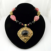 Artisan Handmade Rhodochrosite, Onyx and Brass Necklace With Deer Pendant