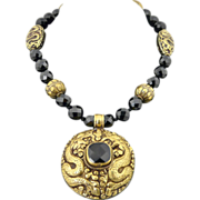 Artisan Handmade Ethnic Faceted Onyx and Heavy Carved Brass Necklace With Tribal Motif