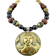 Nepalese Handmade Buddha, Vintage Trade Bead, Onyx and Solid Chased Brass Necklace