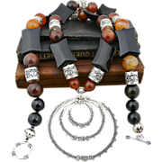 Artisan Handmade Ethnic Thai Fine.999 Silver, Bali Sterling Silver Onyx, Agate and Carnelian .