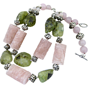 Artisan Handmade Double Strand Carved Rose Quartz , Natural Prehnite Nugget, and Sterling ...