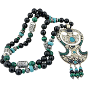Artisan Tribal Malachite, Turquoise,Onyx and Sterling Silver Double Axe Pendant Necklace