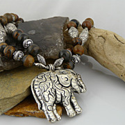 Artisan Handmade Natural Banded Jasper and Sterling Silver Necklace With Lucky Trunk Up Elepha
