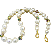 Elegant Artisan Handmade Quality Fresh Water Natural Chinese Cultured Pearl, Cloisonne and 14K