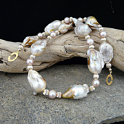 Magnificent Artisan Natural  Giant Baroque Pearl Choker Necklace