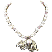 Lucky Handmade Year of The Rabbit Artisan Fresh Water Cultured Pearl Sterling Silver and Rose