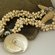Cultured Ivory Colored Potato Pearl and Sterling Silver Beaded Necklace with Sterling Silver T