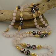 Romantic Rose Quartz, Cloisonne, and Gold Filagree Heart Rope Necklace