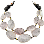 Artisan Handmade Sterling Silver, Rose Quartz, Onyx and Cloisonne Double Strand Necklace
