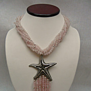 Beautiful, Smooth Rose Quartz , Sterling Silver, and Starfish Pendant