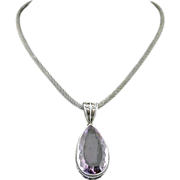 Handmade Natural Faceted Amethyst Pendant and Sterling Silver Bali Chain