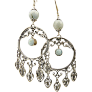 Artisan Handmade Sterling Silver Heart Chandelier Earrings With Larimar and Aquamarine