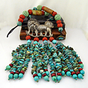 Artisan Handmade Asian Antique Jade,Coral and Snow Lion,With Turquoise & Coral Tassel