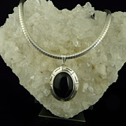 Large Artisan Onyx Sterling Silver Pendant on Wide Sterling Silver Omega Collar