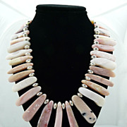 Natural Andean Pink Peruvian Opal Necklace With Sterling Silver