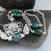 Sterling Silver Balinese Very Ferocious , But Adorable, Barong Necklace with Turquoise and Gol