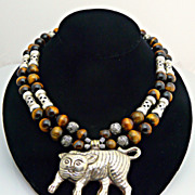 Artisan Handmade Adorable Cat Tiger Eye and Sterling Silver Necklace with Smiling Cat/ Tiger P
