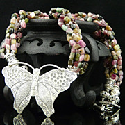 Handmade Natural Multi Strand Tourmaline and Sterling Silver Necklace with Butterfly Pendant