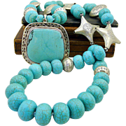 Handmade Artisan Natural Turquoise and Sterling Silver Bohemian Concho Necklace
