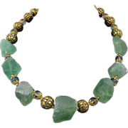 Exotic Artisan Multi-Colored Natural Fluorite and Handcarved Brass Necklace