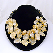 Artisan Handmade Triple Strand Natural Citrine Nugget and Onyx With Cloisonne Statement Neckla