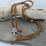 Deerskin Leather and Sterling Silver Necklace with Sterling Silver and Carnelian Charms