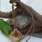 Handmade Leather, Jasper and Sterling Silver Necklace with Jasper/Sterling Charms