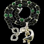 Handmade Artisan Tribal Vintage Sterling Silver Kokopelli Pendant, Malachite and Onyx Necklace