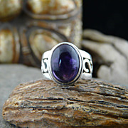 Simple Handmade and Elegant, Heavy Sterling Silver Amethyst Cabochon Ring