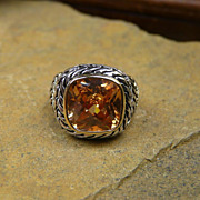 Beautiful, Artisan, Honey Topaz Heavy Sterling Silver Ring With 14Kt Gold Accent