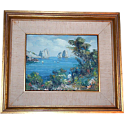SALE Impressionist Italian Seascape Oil Painting Artist Signed