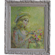 SALE Mid Century Big Eye Girl with Hat Oil Painting