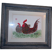 SALE Roosters Mixed Media Original Painting by Chinese Artist Folk Art