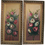 SALE Pair Floral Roses Oil Paintings Yardlong Tall Exquisite Mid Century Artwork
