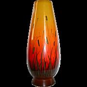 SALE Eames Era Raymor Large Yellow to Orange Cattaiil Scenic Vase Mid Century Mod