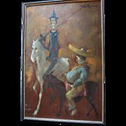 SALE Man of La Mancha Don Quixote & Sancho Panza Large Oil Painting by British Artist ...