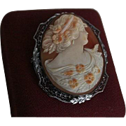 SALE Stunning Large Victorian Carved Shell Cameo Brooch Exquisite Detail Sterling Filigree
