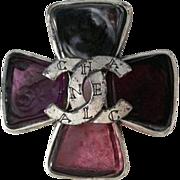 SALE PENDING Vintage Chanel Gripoix Brooch Runway Monarch Cross Center Logo with Box