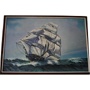 SALE Huge Seascape by Edgar S Nucum (Listed 20th cent) Maritime Clipper Ship Oil Painting