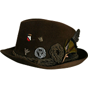 SALE Mens Vintage New Dobbs NY Fedora Sz 7 Feather & Authentic German Medals