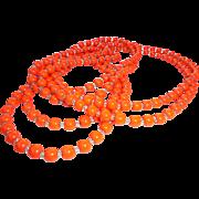 "SALE Halloween Art Deco Flapper Length Orange 80"" Long Glass * Crystal Necklace"