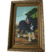 SALE Mother's Day Sale! 1892 Antique American Naive School Beautiful Dog Oil Painting
