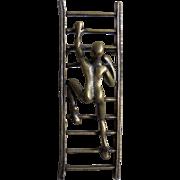 3D Modernist Acrobatic Figure Climbing Ladder Brooch
