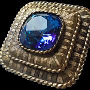 Gorgeous Kramer Signed Pendant Brooch Huge Sapphire Blue Center Faceted Rhinetone