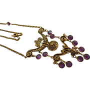 SALE Goldette Etruscan Revival Bezel Set Amethyst Glass Draping Bib Necklace
